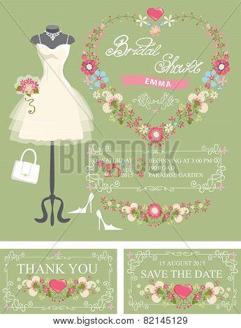 Bridal shower invitation set. Dress,floral decor