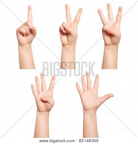 Isolated Children Hands Show The Number One Two Three Four Five
