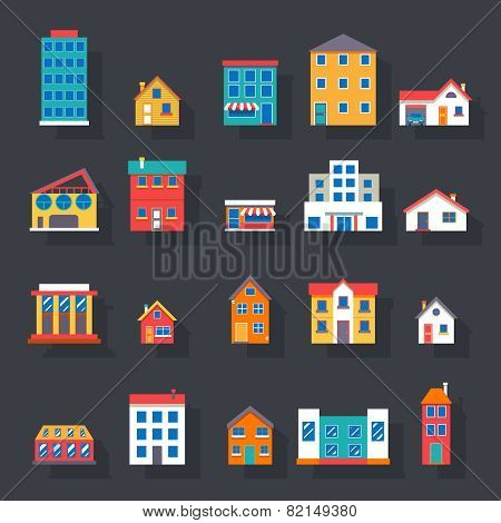 Modern trendy retro house street flat icons set vector illustration