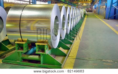 galvanized steel coils inside of plant, shoot at workplace poster