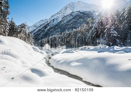Mountain River At Sunny Day