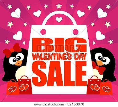 Big Sale Valentine's day card with penguins