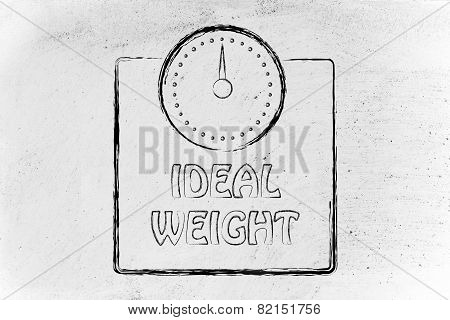 Nutrition, Dieting And Ideal Weight: Scale Design, Concept Of Healthy Life