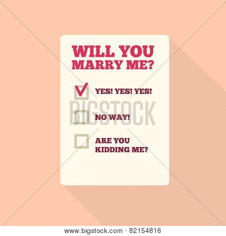 Flat Style Icon with Long Shadow. Text - Will you marry me.