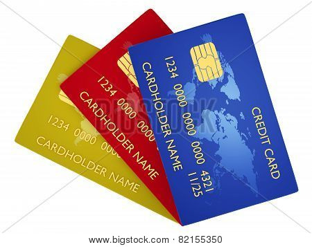 Pack of credit card isolated