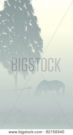Vertical Illustration Of Tree And Horse In Fog.