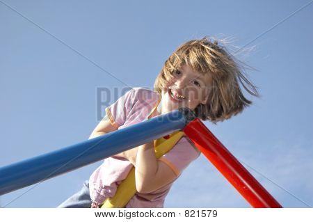 girl on climbing pole 03