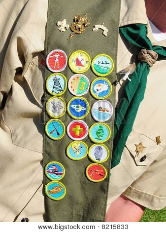 17 Merit Badges on Bandoleer