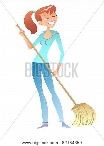 girl with the broom cleaner housewife volunteer