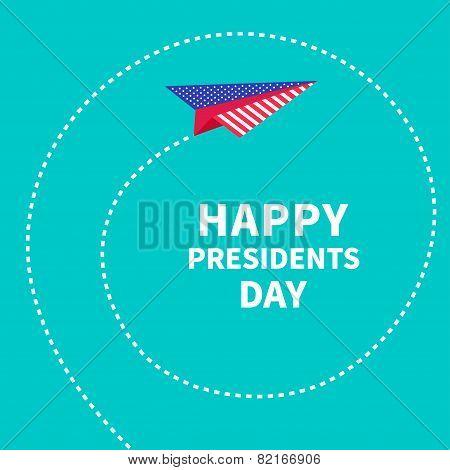 Presidents Day background Paper plane. Dash line spiral