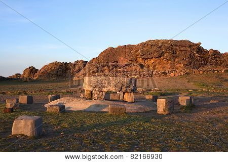 Ceremonial Table and Rock of the Puma on Isla del Sol in Lake Titicaca, Bolivia