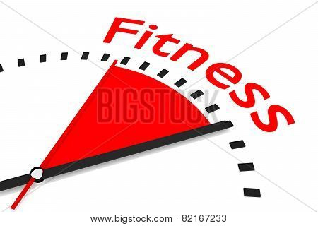 Clock With Red Seconds Hand Area Fitness Illustration