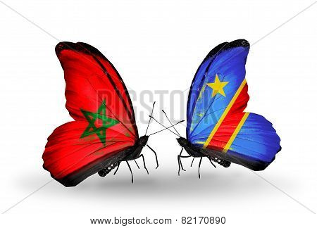 Two Butterflies With Flags On Wings As Symbol Of Relations Morocco And Kongo