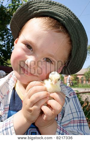 A boy holding a small, yellow chick poster