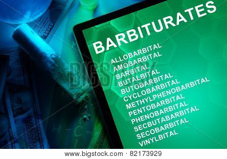 Tablet with the chemical formula of Barbiturates.