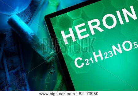 Tablet with the chemical formula of heroin.