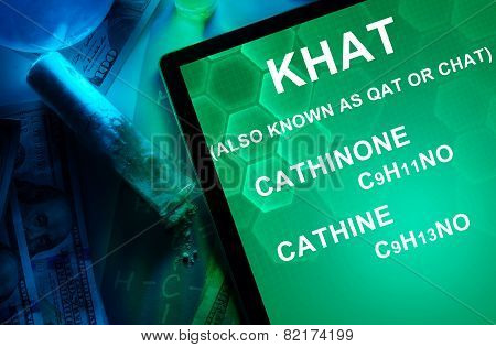 Tablet with the chemical formula of Khat (also known as qat or chat) Cathine Cathinone. Drugs and Narcotics poster
