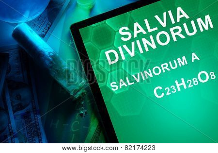 Tablet with the chemical formula of Salvia divinorum salvinorum. Drugs and Narcotics poster