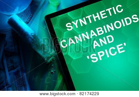 Tablet with the chemical formula of Synthetic cannabinoids and Spice.