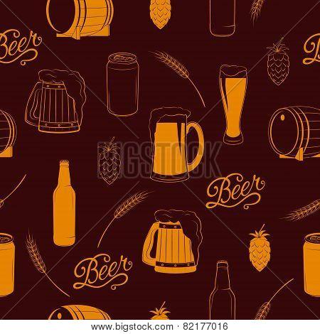 Vector seamless beer pattern