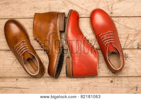 Men Brown And Red Shoes