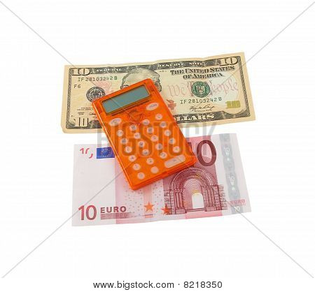 Calculator With 10 Euro And 10 Dollar Banknotes On A White