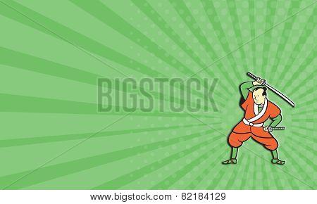 Business Card Samurai Warrior Wielding Katana Sword Cartoon