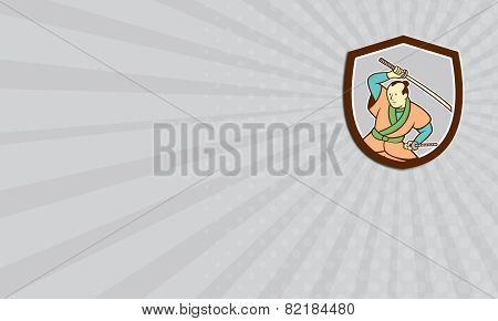 Business Card Samurai Warrior Katana Sword Shield Cartoon