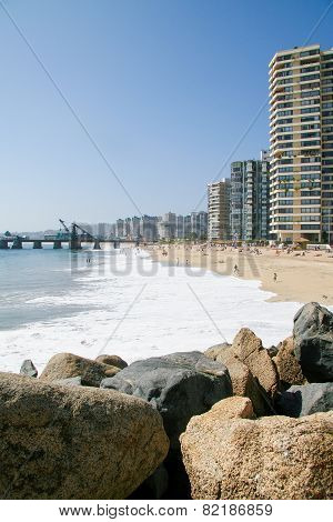 Beach And Skyline Of Vina Del Mar, Chile