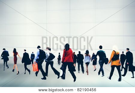 Commuter Buiness People Corporate Rush Hour Travel Concept