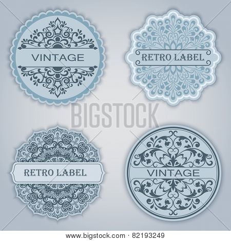 Vintage winter vector labels set with copy space.