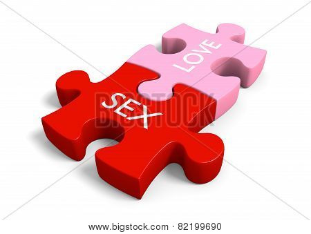 Sex and love puzzle pieces for sexual education and sensuality themes