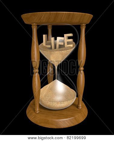 Aging and longevity concept of sand in an hourglass with the word LIFE inside