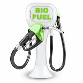 Bio fuel concept with petrol pump machine. Isolated 3d image. poster