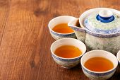 A good cup of tea. Closeup image of traditional crockery set on wooden table poster