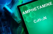 Tablet with the chemical formula of Amphetamine. Drugs and Narcotics poster