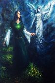 A beautiful oil painting on canvas of a mystical woman in historical dress having a visionary encounter with her guardian angel in a temple of nature poster