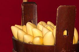 Thai Mangoes In Wooden Basket