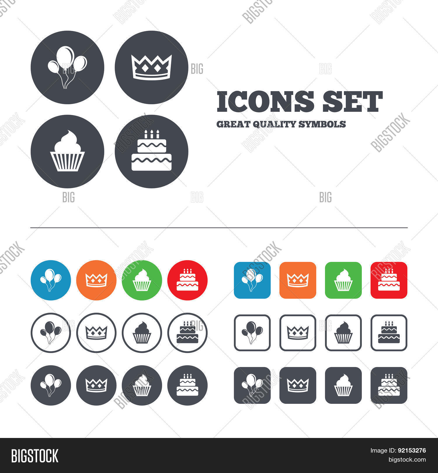Birthday Party Icons Vector Photo Free Trial Bigstock