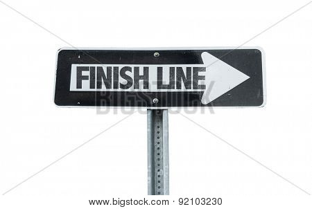 Finish Line direction sign isolated on white