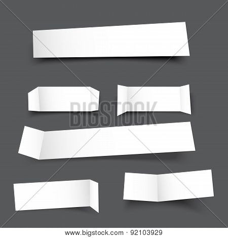 White Paper Banner Round Corner With Drop Shadows On Grey Background