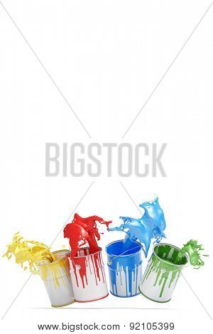 Four different colorful colors splashing from jumping paint cans (3D Rendering)