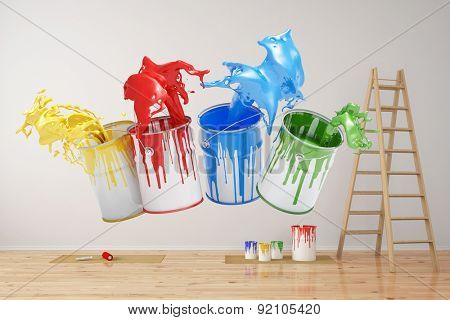 Wall during renovation with colorful splashing paint cans (3D Rendering)