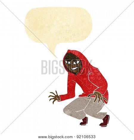 cartoon mischievous boy in hooded top with speech bubble poster