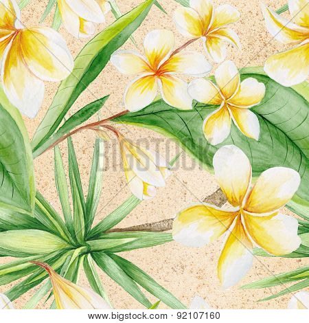 Watercolor Tropical Pattern with Sand
