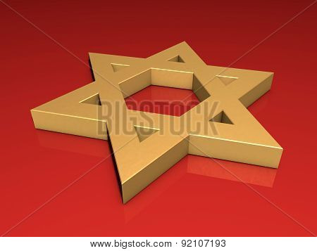 Stylized Image Star Of David Made Of Gold On A Red Background