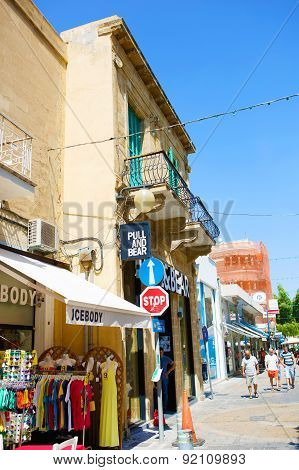 Ledra street in Nicosia, Cyprus. The major shopping thoroughfare.