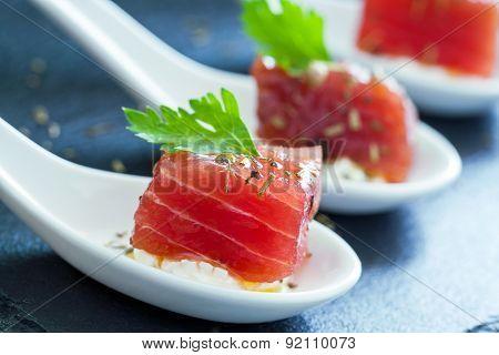 Macro Close Up Of Tuna Morsel.