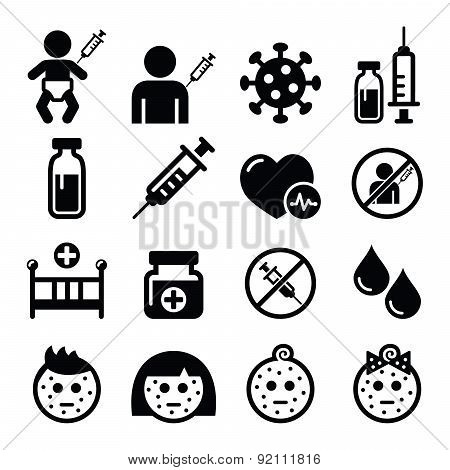 Sick child, vaccinate, medical vector icons set isolated on white poster