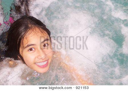 Smiling Pretty Girl In Spa